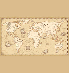 vintage physical world map with rivers and vector image