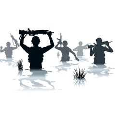 Wading soldiers vector image vector image
