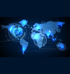World map with background of blue graphic vector image