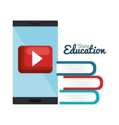 books smartphone online education design isolated vector image