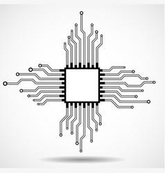 cpu microprocessor microchip circuit board vector image
