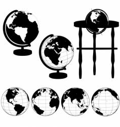 globes silhouettes vector image vector image