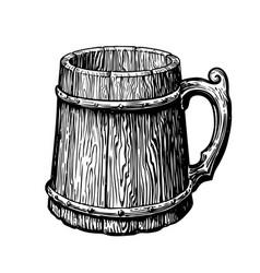 hand-drawn vintage empty wood mug sketch vector image vector image