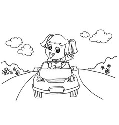little girl driving a toy car coloring page vector image