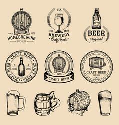 old brewery logos set kraft beer retro images vector image vector image