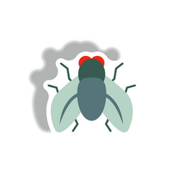Stylish icon in paper sticker style fly insect vector