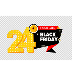 24 hour sale black friday yellow banner vector