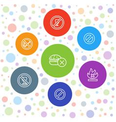 7 ban icons vector