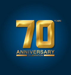 70 years anniversary celebration logotype golden vector image