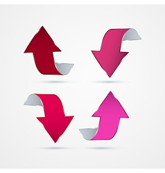 Abstract 3d Pink Arrow Icons vector image