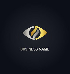 Abstract eye technology gold logo vector