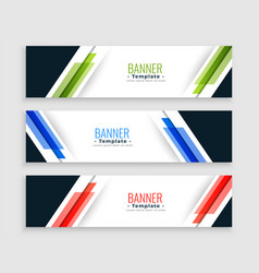 abstract geometric web banners modern set in vector image