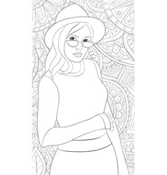 Adult coloring bookpage a cute girl wearing a hat vector