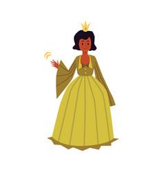 African american girl in princess costume flat vector