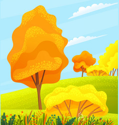 Autumn view or landscape with yellow and orange vector
