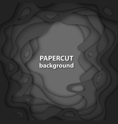 background with black color paper cut shapes 3d vector image