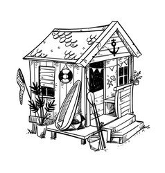 beach hut cosy holiday home at beach vector image