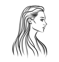 Beautiful woman silhouette with long hair vector