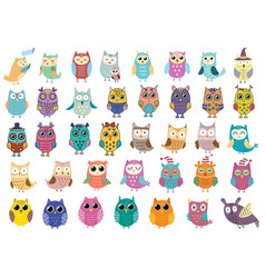 big collection cute owls clipart bundle with vector image