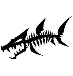 black graphic dead fish skeleton with bones vector image