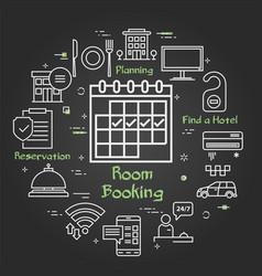 black hotel service square concept - room vector image