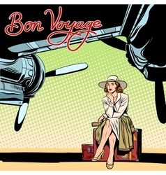 Bon voyage beautiful girl on the runway vector