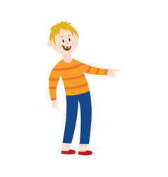 Boy bully pointing a finger and laughing vector