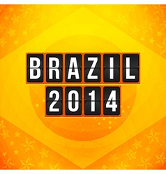 Brazil 2014 football poster Bright yellow-orange vector image
