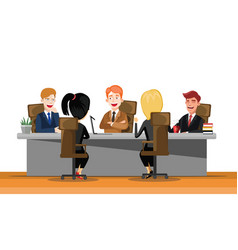 business man meeting at a big conference desk vector image
