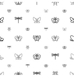 Butterfly icons pattern seamless white background vector