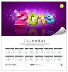 Calendar 2013 new year background vector image