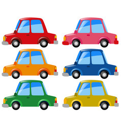 Cars in six different colors vector