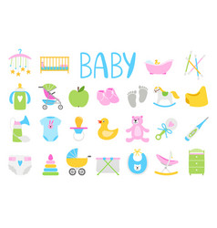 cartoon baby icon set vector image