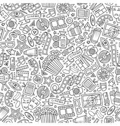 Cartoon cute hand drawn cinema seamless pattern vector