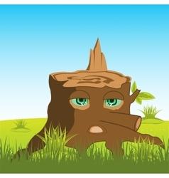Cartoon stump with eye vector