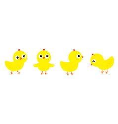 Chicken chick bird set line face head cute vector