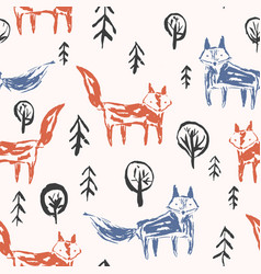 Childish pattern with orange foxes in forest vector