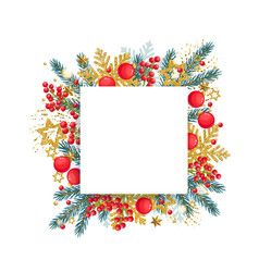 christmas round banner with fir branches and red vector image