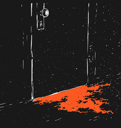 closed door and puddle blood vector image