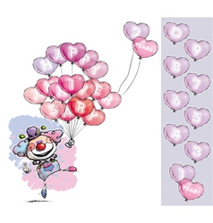 Clown with Heart Balloons Saying Happy Anniversary vector image