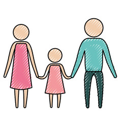 color crayon silhouette of pictogram parents with vector image