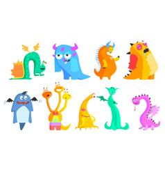 Colorful flat set of funny monsters vector