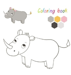 Coloring book rhino kids layout for game vector image