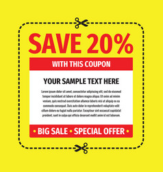 Coupon save discount off 20 percent - concept temp vector