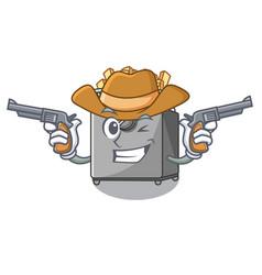 Cowboy cartoon deep fryer in the kitchen vector
