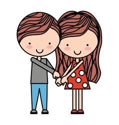 cute couple isolated icon design vector image