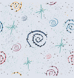 cute seamless pattern with spirals and stars vector image