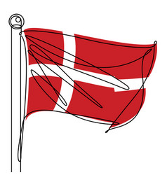 Denmark flag one continuous line abstract icon vector
