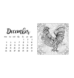 Desk calendar template for month December with vector