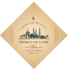 Diamond shaped wine label with rural landscape vector